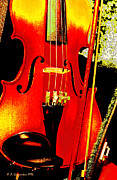 Violin Digital Art - Violinn Bow and Case Digital Art by A Gurmankin
