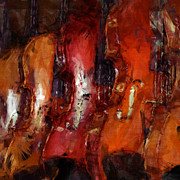 Violin Digital Art Posters - Violins Abstract Poster by David G Paul