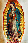 Virgin Mary Framed Prints - Virgen de Guadalupe Framed Print by Bibi Romer