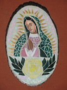 Roses Glass Art Prints - Virgen De Guadalupe Print by Rosa Cardenas