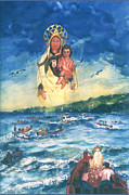 Puerto Rico Paintings - Virgen del Carmen I by Estela Robles