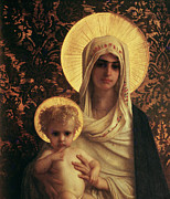 Halo Painting Framed Prints - Virgin and Child Framed Print by Antoine Auguste Ernest Herbert