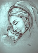 Christ Child Drawings Posters - Virgin And Child Poster by Craig Green