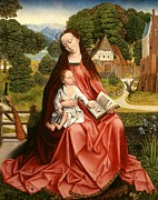 Dutch Framed Prints - Virgin and Child in a Landscape Framed Print by Master of the Embroidered Foliage