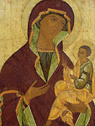Icon Byzantine Painting Posters - Virgin and Child Poster by Russian School