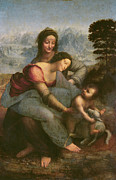 Lamb Of God Painting Posters - Virgin and Child with Saint Anne Poster by Leonardo Da Vinci