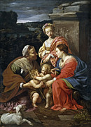 Famous Artists - Virgin and Child with Saint Elizabeth the infant Saint John and Saint Catherine by Simon Vouet