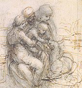 Virgin Mary Drawings Prints - Virgin and Child with St. Anne Print by Leonardo da Vinci