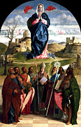 Virgin Mary Metal Prints - Virgin In Glory With Saints 1515 Giovanni Bellini Metal Print by Karon Melillo DeVega