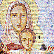 Mother Mary Digital Art Originals - Virgin Mari with the Child Christ by Temur Lursmanashvili
