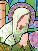 Byzantine Icon. Prints - Virgin Mary 6 Print by Jacqueline Savidge