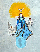 Joseph Frank Baraba Painting Prints - Virgin Mary And Angels Print by Joseph Frank Baraba