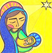 Virgin Mary Paintings - Virgin Mary and Baby Jesus by Mary Tere Perez