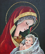 Sacred Prints - Virgin Mary and Child Print by Camelia Apostol
