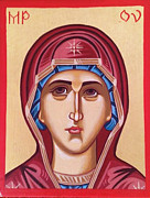 Russian Orthodox Painting Originals - Virgin Mary Icon by Marian Moncea