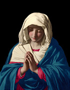 Virgin Mary Mixed Media Posters - Virgin Mary in Prayer Poster by Sassoferrato