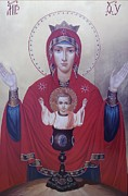 Russian Icon Painting Posters - Virgin Mary-Inexhaustible cup Poster by Janeta Todorova