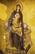Icon Byzantine Metal Prints - Virgin Mary with Baby Jesus Mosaic Metal Print by Artur Bogacki