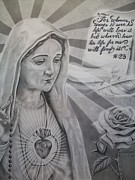 Virgin Mary With Flower Print by Anthony Gonzalez