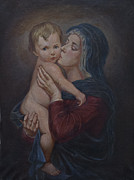 Virgin Mary Painting Originals - Virgin Mary with the child by Unknown