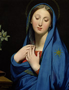 Prayer Shawl Framed Prints - Virgin of the Adoption Framed Print by Jean Auguste Dominique Ingres