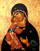 Virgin Mary Painting Originals - Virgin of Vladimir by Joseph Malham
