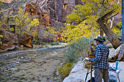 Zion National Park Framed Prints - Virgin River Artist - Zion Framed Print by Jon Berghoff