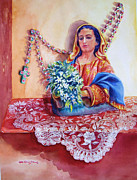 Rosary Framed Prints - Virgin Rosary Mantilla Framed Print by Estela Robles