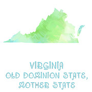 Old Map Digital Art Acrylic Prints - Virginia - Old Dominion State - Mother State - Big Bend State Acrylic Print by Andee Photography