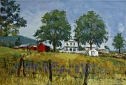 Pallet Knife Framed Prints - Virginia Highlands Farm Framed Print by Peter Muzyka