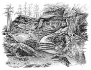 National Park Drawings - Virginia Kendall Ledges - Cuyahoga Valley National Park by Kelli Swan