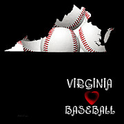 Abstract Map Posters - Virginia Loves Baseball Poster by Andee Photography