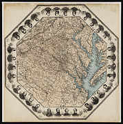 Virginia Digital Art Prints - Virginia Map with Civil War Heroes Print by Digital Reproductions