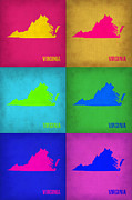 Virginia Framed Prints - Virginia Pop Art Map 1 Framed Print by Irina  March