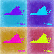 Virginia Metal Prints - Virginia Pop Art Map 2 Metal Print by Irina  March