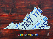 Tag Mixed Media Framed Prints - Virginia State License Plate Map Art on Fruitwood Old Dominion Framed Print by Design Turnpike