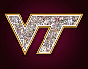 Virginia Tech Prints - Virginia Tech Football Print by Fairchild Art Studio