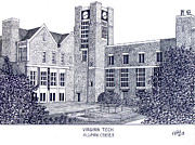 Famous University Buildings Drawings Art - Virginia Tech by Frederic Kohli
