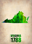 Modern Poster Art - Virginia Watercolor Map by Irina  March