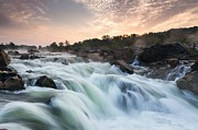 Great Falls Park Posters - Virginia Waterfall Great Falls Potomac River Sunrise Poster by Mark VanDyke