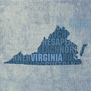 Virginia Framed Prints - Virginia Word Art State Map on Canvas Framed Print by Design Turnpike