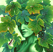 Grape Leaves Prints - Virtue in the Vines Print by Sandi Whetzel