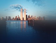 Twin Towers Of The World Trade Center Framed Prints - Vision of a Great City Framed Print by Kellice Swaggerty