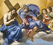 Religious Digital Art Prints - Vision of Christ and God Detail Print by Domenico Zampieri