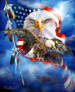 American Flag Mixed Media Prints - Vision Of Freedom Print by Carol Cavalaris
