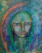 Sacred Feminine Paintings - Visioning Woman of Living Waters by Havi Mandell