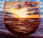 Wine Glass Paintings - Visions In Merlot by Mary Giacomini
