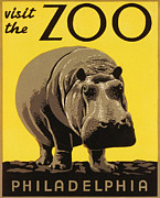 Hippopotamus Digital Art Posters - Visit the Philadelphia Zoo Poster by Bill Cannon