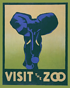 United States Travel Bureau Prints - Visit The Zoo Print by Unknown