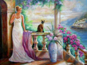 Evening Gown Paintings - Visit with a furry friend by Gina Femrite